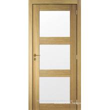 Unfinished interior modern design oak veneered wood glass door design