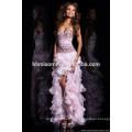 Bowknot es largo vestido de novia de alto grado Vestido de noche sin tirantes de encaje amor para siempre vestido de novia