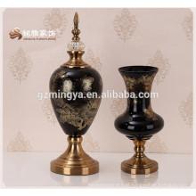 Decoração de casa vaso de madeira flor de vidro flor de vidro vaso de flor de vidro escuro à venda
