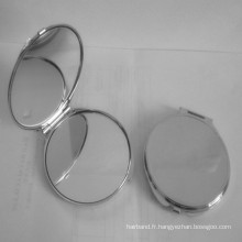 Silver Round Metal Cosmetic Pocket Mirror Box (BOX-07)