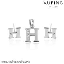 64058-China Großhandel 925 Silber Farbe Alphabet H Schmuck-Set