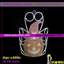 Yellow Mr Evil pumpkin/Evil smile Pageant Tiara Crown