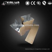 2015 nuevo papel de aluminio de estilo alineados bolsa de papel de pie para la bolsa de alimentos calientes