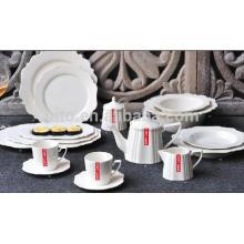 P & T porcelaine en céramique en porcelaine blanche, vaisselle durable, assiettes complètes