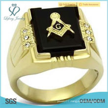 Gold Lust Agate CZ crystal Masonic Ring