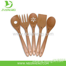 Pampered Chef 5 Wooden Bamboo Utensils Spoons New