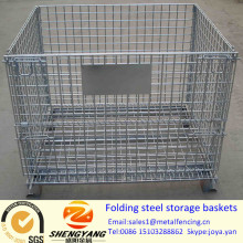 Vente chaude 0.15-1.56m3 volume chariot élévateur aliments disponibles grands conteneurs de transport 4 roues amovibles pliant paniers de rangement en acier
