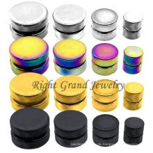 Vergoldete Hexagon Magnetische Ohrringe aus Edelstahl mit gefälschten magnetischen Piercings
