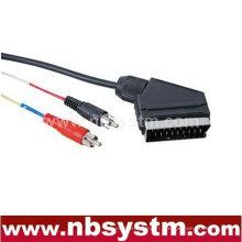 Connecteur Scart mâle à 2x connecteur RCA câble mâle
