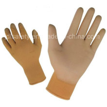 Красочные работы полиэстер перчатка с Palm PU покрытием (PN8004)