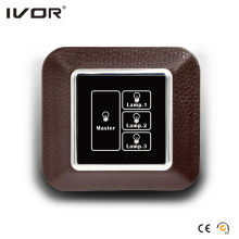 3 Gangs Lighting Switch Panneau tactile avec Master Control Leather Outline Frame (AXL-LE-L3M)