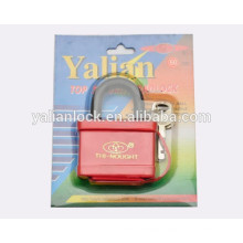 Cheap Plastic Cover Red Color Brass Padlock with Vane Key
