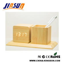 Bamboo Effect Led Clock With Pen holder