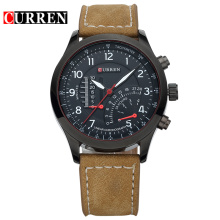Sport Leather Band Quartz Watch Män