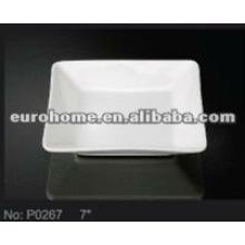 Pequenos pratos quadrados de porcelana branca profunda cerâmica placas P0267