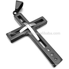 2015 moda jóias de prata de aço inoxidável com pingente de cruz de cor preta