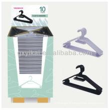 Cintre en plastique promotionnel de haute qualité emballé avec carton d'affichage