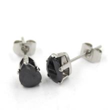 Модные черные разноцветные серьги с бриллиантами