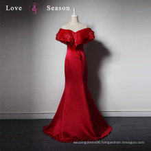 LSQ029 Dark red unique off shoulder trumpet long kaftan ladies dinner formal women dresses sexy