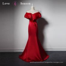 LSQ029 Dark vermelho exclusivo fora do ombro trompete longo kaftan senhoras jantar formal mulheres vestidos sexy