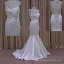 Vestido de novia sin mangas de satén brillante de raso
