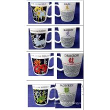 Douze Tasses en céramique de signes du zodiaque chinois fixés pour la vente en gros