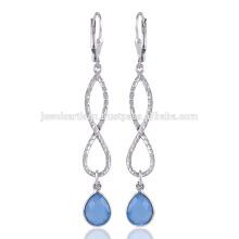 Onyx azul pendiente y pendiente de gota y diseño único en plata de ley 925
