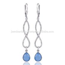 Blue Onyx Dangle & Drop Earring et Unique Design sur 925 Sterling Silver