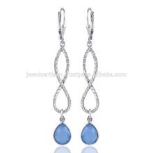 Синий оникса мотаться падение серьги и уникальный дизайн 925 стерлингового серебра