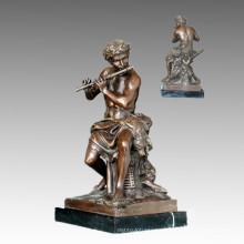 Classical Bronze Sculpture Hunter Fluting Deco Brass Statue TPE-409