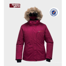 La chaqueta más nueva de invierno de la mujer relleno exterior chaqueta / skiwear niñas chaquetas de invierno de moda con capucha