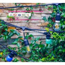Luzes de decoração do pátio 48 pés pendurado corda iluminação com 15 soquetes caiu, cabo de extensão de 10 pés SLT-170