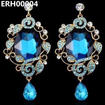 Retro Blue Crystal Drop Earrings For Women