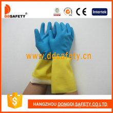 Gants de ménage bleu et jaune de latex / néoprène (DHL214)