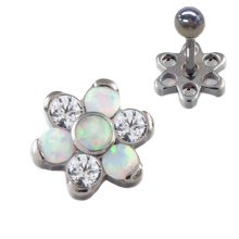 Titan Opal Zirkonia Blume Ohr Tragus Helix Piercing Ohrring Schmuck
