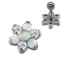 Opale titane zircone fleur oreille Tragus Helix piercing boucles d'oreilles bijoux