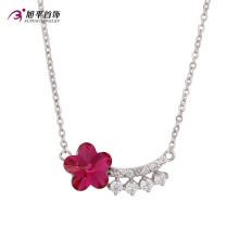 Mode Luxe Ruby Fleur CZ Cristal Rhodium Couleur Bijoux Pendentif Collier -Xn4786
