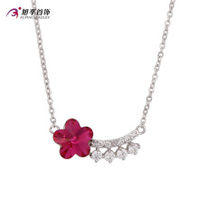 Fashion Luxury Ruby Flower CZ Crystal Rhodium Color Jewelry Pendant Necklace -Xn4786