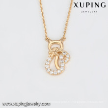 43988 collier de mode collier de bijoux plaqué or avec des pierres délicates et ravissantes type de chat blanc