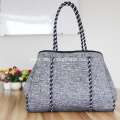 Woman's neoprene shopping handbags durable