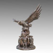Große Tier-Messing-Statue Tercel / Eagle Bronze Garten Skulptur Tpls-103