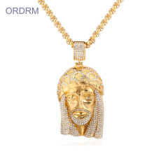 Icing Out Hip Hop Gold Jesus Piece Necklace