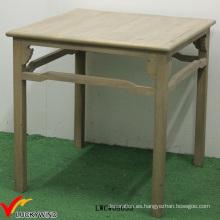 Natural Brown Chic Cottage Mesa de comedor antigua Cuadrado de madera