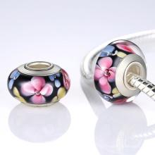 Cuentas de cristal de Murano con la pulsera del corazón de la plata esterlina 925