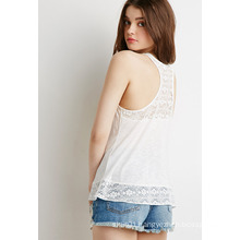Floral Lace-Paneled Slub Tank Top Women Clothes