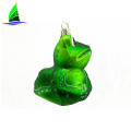 small animal shaped green frog glass Christmas ornaments