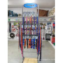 Estantería de rejilla de alambre calificado Estantería de piso de madera Productos de cuidado de mascotas Cachorro de perro Collar Display Rack