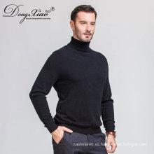 El último diseño 2017 del suéter de la cachemira del color de la manga larga del cuello del alto negro de los hombres de Mongolia Interior China