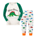 Neue Design-hellblaue lange Hülsen-gedruckte Tierkarikatur-Jungen-Kinderpyjamas