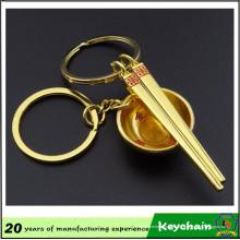 3D or couleur bol et baguettes porte-clés pour les amateurs